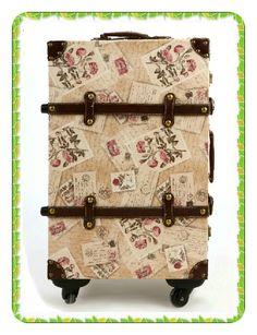 c9f3da474f Stamps Flower Printing Vintage Trolley Luggage Luggage Case
