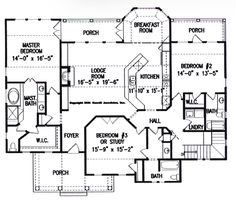 Only pinning because I like the individual porches. Waldrip Cabin - Small House Plans