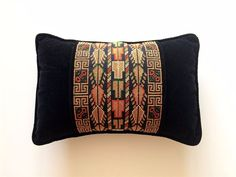 Pillow, Cushion, hand embroidered, cross stitch, velvet, Black/ Gold. Palestine