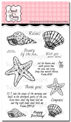 Sweet 'n Sassy Stamps - Beauty by the Sea Stamp Set, $15.00 (http://www.sweetnsassystamps.com/products/Beauty-by-the-Sea-Stamp-Set.html/)
