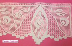 Uç Danteli Crochet Borders, Crochet Patterns, Crochet Curtains, Bedding Sets, Diy And Crafts, Embroidery, Crochet Lace Edging, Dish Towels, Towels