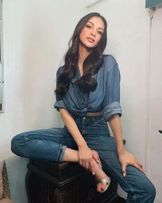 Kylie Verzosa, New Movies Coming Out, Denim Skirt, Mom Jeans, Person Sitting, Skirts, Look, Summer, Pants
