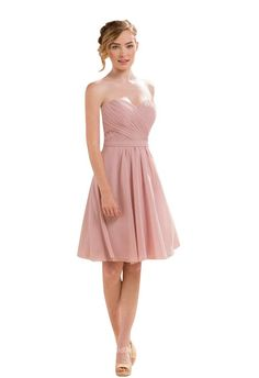 Lightweight chiffon knee length bridesmaid dress. Blush strapless bodice with pleated sweetheart neckline, A-line skirt with drapes. Embroidered back, zip closure.