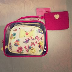 """Betsey Johnson bag set Betsey Johnson bag set come with 3 small bag L10""""xH8""""xD4"""" / L8""""xH6""""1/2xD3""""1/2 / L6""""1/2xH5""""xD1/2"""" Have any question please let me know.    (00300) Betsey Johnson Bags Cosmetic Bags & Cases"""