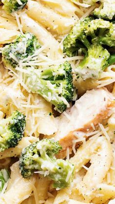 Three Cheese Chicken Broccoli Alfredo ~ Delicious homemade three cheese alfredo gets tossed with pasta, broccoli and chicken...  It is quick and easy and out of this world good!