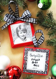 christmas list photo ornament tutorial diy christmas ornament idea