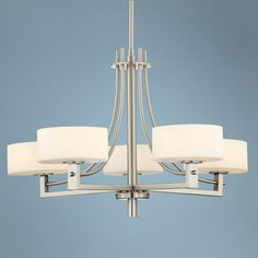 Possini Euro Frosted White Glass 5-Light Chandelier -  For formal dining?