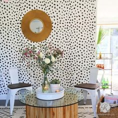 Cheetah Leopard Allover Spots Wall Stencil for Animal Print Decor                           | Royal Design Studio