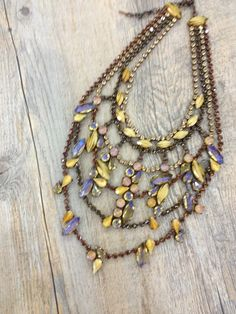 Bronze crystal beads necklace with multi colors tiers by Bohemian Treasure