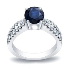 Auriya 14k Gold 3/5ct Blue Sapphire and 2/5ct TDW Round Diamond Engagement Ring (H-I, SI1-SI2) (Yellow Gold - Size 9), Women's
