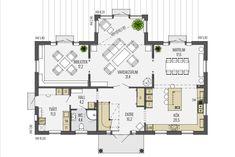 Gillar: köket, stora sällskapsytor. Gillar inte: trappens position. Sims 4 Build, Planer, Foyer, House Plans, Floor Plans, Flooring, How To Plan, Architecture, Building