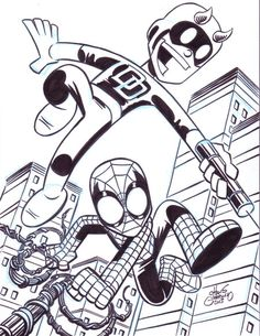 Daredevil and Spider-Man hit the tiles in this sketch fromChris... #comics #art
