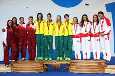 Gold medallists Cate Campbell, Emma McKeon, Melanie Schlanger and Bronte Campbell of Australia Bronte Campbell, Commonwealth Games, Olympic Sports, Michelle Williams, Swim Team, Photo L, Summer Olympics, Swimmers, Triathlon