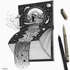 Fantasy and Surrealism in Ink Illustrations Space Waterfall Book by Meni Chatzipanagiotou Space Drawings, Ink Pen Drawings, Art Drawings Sketches, Ink Illustrations, Cute Illustration, Amazing Drawings, Easy Drawings, Bullet Journal Bookshelf, Surreal Tattoo