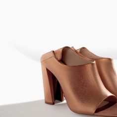 Image 1 of SHINY LEATHER HIGH HEEL MULES from Zara $100