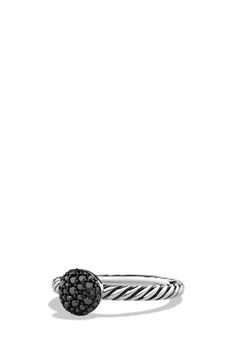 Sterling silver and darkened sterling silver. Pavé black diamonds, 0.23 total carat weight. Ring, 3mm wide. By David Yurman; imported.