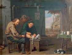 """The Barber-Surgeon"" by David Ryckaert III (1638) - ""The methods employed by colonial practitioners reflected those of their European counterparts. Here, a curious onlooker watches an early-seventeenth-century Flemish surgeon perform an operation."""