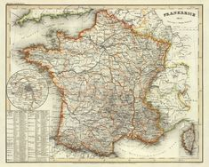 Old map restored, archival reproduction on paper or canvas. Vintage Wall Art, Vintage World Maps, Paris Map, France Map, Wall Maps, Historical Maps, Hand Coloring, Custom Framing, A Table