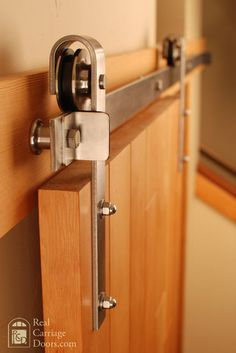 Rolling door hardware is another kind of barn door that is growing in popularity. The Doors, Wood Doors, Sliding Barn Door Hardware, Sliding Doors, Window Hardware, Door Hinges, Porta Diy, Steel Barns, Modern Barn