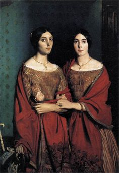 1840-1860 Portrait of Victorian Sisters with Braided Hair Bracelet