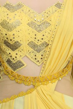 Mandira Wirk presents Yellow mukaish embroidered drape saree available only at Pernia's Pop Up Shop. Embroidery Saree, Beaded Embroidery, Sangeet Outfit, Salwar Suits Party Wear, Cape Gown, Indian Designer Suits, Designer Party Wear Dresses, Black Saree, Draped Dress