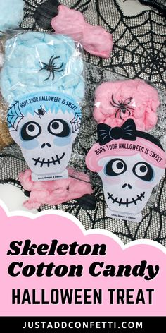 This skeleton cotton candy Halloween treat idea is so cute and easy to make. All you need is cotton candy, cellophane treat bags and my skeleton printable. Add a plastic spider ring for even more spooky fun! This would be a perfect Halloween party favor, classroom treat or handout at your kid's school! Such a fun Halloween treat for kids! The printable tags are available in my Just Add Confetti Etsy shop. Also, head to justaddconfetti.com for even more Halloween gift ideas and treats!