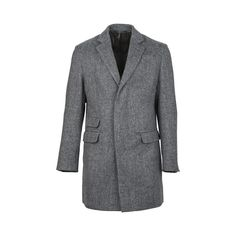 Grey virgin wool tweed coat from Dolce & Gabbana. Grey Coat Mens, Grey Pea Coat, Man's Overcoat, Tweed Coat, Fashion Essentials, Suit Jacket, Mens Fashion, How To Wear, Clothes
