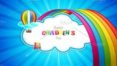 Happy Children's day by gigello Happy Children's Day, Happy Kids, Vector Illustrations, Graphic Illustration, Cloud Shapes, Child And Child, The Creator, Neon Signs, Clouds