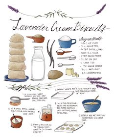 Lavender Cream Biscuit Recipe Card by Kayla King | tinyinklings.com