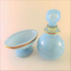 Avon Bristol Blue Opaline Vanity Set Soap by NadyasVintageNook