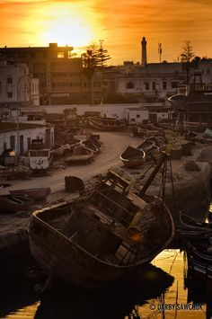 Sunset over the boats in the port of El Jadida, Morocco | Darby Sawchuk Photographic