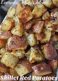 Everyday Mom's Meals ~Skillet Red Potatoes~ For all the tater lovers like me out there, these are the perfect breakfast, brunch or simple dinner side dish. Crispy, golden brown and full of flavor!