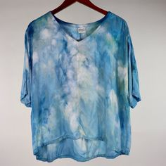Small Flowy High Low Rayon Top Ice Dyeing, Tie Dye Shirts, High Low, Fashion Outfits, Stylish, Clothes, Collection, Tops, Women