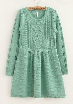 Green Falbala Long Sleeve Wool Blend Dress