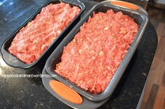 Mother in Law's Famous Meatloaf - just mix up and bake. Or, can also mix up, freeze, then bake. These Rachael Ray meatloaf pans have an insert so the grease can drip out as they bake. Can lighten up with ground turkey instead of ground beef.