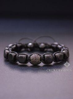 Onyx Cube, Men's Shamballa Beaded Bracelet, Natural Stone, Unisex Black Onyx Bracelet, Energy Bracelet, Cube Shaped Black Onyx, Gift for Him