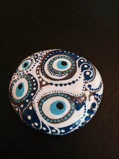 Hand Painted Good Luck Evil Eye Paperweight by MelsGoodLuckShop