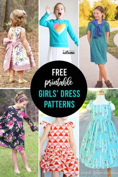 Free printable dress patterns for girls in multiple sizes.Free printable dress patterns for girls in multiple sizes.Free printable dress patterns for girls. Little Girl Dress Patterns, Simple Dress Pattern, Sewing Patterns For Kids, Dress Sewing Patterns, Sewing For Kids, Clothing Patterns, Free Printable Sewing Patterns, Diy Gown, 1000 Lifehacks