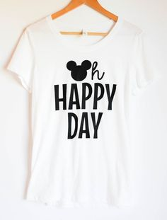 Tees On Earth  OH HAPPY DAY TEE- Ladies Fit: White $ 24.00