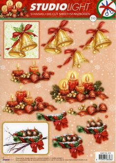 VINTAGE PAPER MAGIC CHRISTMAS ANGELS BIRDS BELLS 12 STICKERS 1 SHEET