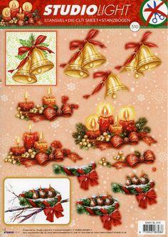 A4 3D Christmas StudioLight die cut decoupage # 310, bells, candles, birds