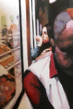 "Saatchi Online Artist: thomas saliot; Oil 2013 Painting ""Train girl"""