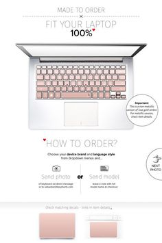 Or rose Asus Keyboard Stickers Laptop peau Decal Acer Chromebook Dell clavier autocollants Lenovo HP livre Surface Toshiba # Rose Ombre or