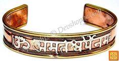 Aum Amriteshwaryai Namaha healing bracelet - made from copper and brass