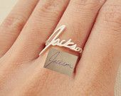 SALE Memorial Signature Ring - Personalized Handwriting Ring - Keepsake Jewelry in Sterling Silver - Christmas Gift - MOTHER GIFT