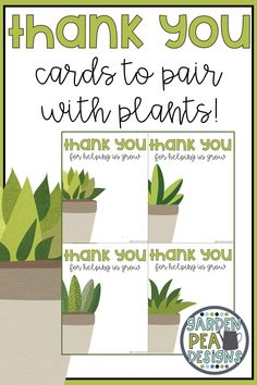 Cute thank you cards to pair with a plant for a school volunteer, staff member or teacher. This thank you for helping us grow printable comes with space for writing a small note of gratitude. Teacher Thank You Cards, Cute Thank You Cards, Great Teacher Gifts, Thank You Gifts, Volunteer Appreciation Gifts, Teacher Appreciation Week, Thank You Volunteers, Classroom Volunteer, Adventure Gifts