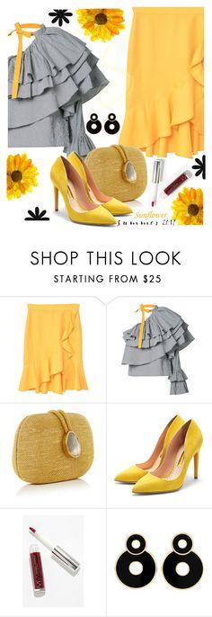 """""""Sunflower Summer"""" by juliehooper on Polyvore featuring MANGO, Rosie Assoulin, Kayu, Rupert Sanderson, Modern Minerals, polyvoreeditorial and SunflowerSummer"""