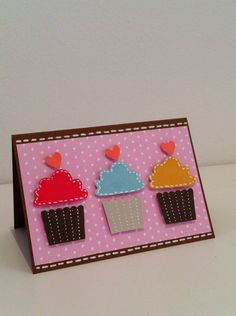 Birthday Card  Cupcakes by PinkMemoryCards on Etsy, £2.50