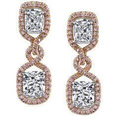 Women's Diamond Earring by Harry Kotlar Pretty in Pink Arabesque Kotlar Cushion drop Earrings