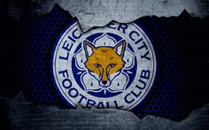 Download wallpapers Leicester City FC, 4k, football, Premier League, England, Leicester emblem, logo, football club, wolves, Leicester, UK, metal texture, grunge